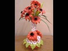 Best Out Of Waste Plastic transformed to fabulous orange flowers Showpiece