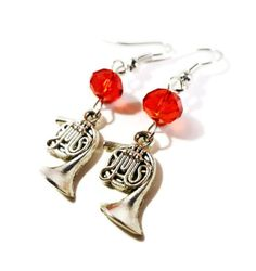French Horn Earrings Silver Horn Charm by BusyBeeBeadedJewelry, $4.95