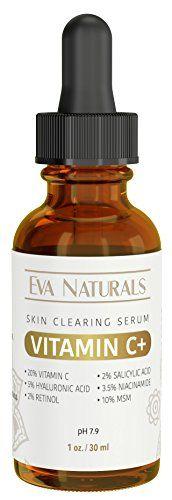 Vitamin C Serum Plus 2% Retinol, 3.5% Niacinamide, 5% Hyaluronic Acid, 2% Salicylic Acid, 10% MSM, 20% Vitamin C - Skin Clearing Serum - Anti-Aging Skin Repair, Supercharged Face Serum (1 oz) Eva Naturals http://www.amazon.com/dp/B01BT02Q88/ref=cm_sw_r_pi_dp_L8T-wb057EJ7C