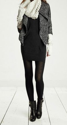 little black dress + soft wool biker jacket + scarf + biker boots = perfect