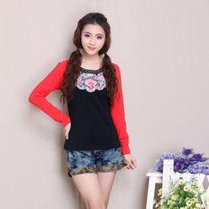 Mandarin Style Scoop Neck Red Sleeve Black Shirt - Chinese Shirts & Blouses - Women