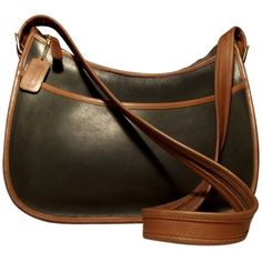Pre-owned Coach Large Vintage Hobo Spectator Zip-top Dark Forest... ($122) ❤ liked on Polyvore featuring bags, brown leather bag, crossbody bags, crossbody travel bag, travel bag and vintage evening bags