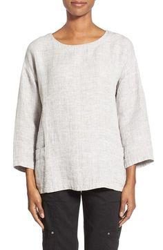 Eileen Fisher Linen & Cotton Bateau Neck Top