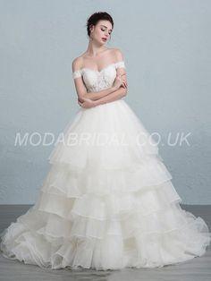 modabridal.co.uk SUPPLIES Vogue Fall Ball Gown Hall All Sizes Summer Off-the-Shoulder Court Floor-Length Wedding Dress Wedding Dresses 2016