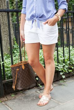 a0d9e7291ef casual preppy outfit -- tie front blouse