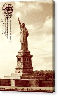 American Canvas Print featuring the Classic Statue Of Liberty - Sepia Tone by Mark E Tisdale