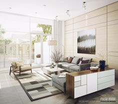 living rooms | Modern Neutral Living Room Decor with Graphic Area Rug and Comfortable ...