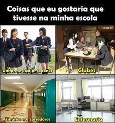 Seria um sonho <<< na minha escola tem enfermaria e armários, mas os armários ficam na frente das salas de aula e vc precisa alugar