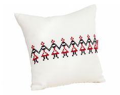 Small Decorative Pillow / Traditional Romanian motifs  #hora #Romanian #dancers #pillow #comfy #cozy #soft #home #deco #traditional #Maramures