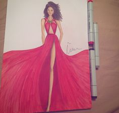 #fashionsketch #fashionillustration  #fashionillustrator #copicmarkers #promarker #copic #turkey #prints #drawing #fashion #happy #amateurdrawings #beginner #red #mei.
