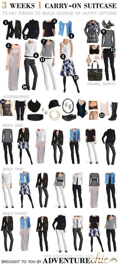 Capsule wardrobe 3 weeks of outfits / 1 carry on suitcase Image Fashion, Look Fashion, Womens Fashion, Fashion Tips, Travel Fashion, Fashion 2014, Petite Fashion, Fashion Spring, Travel Wardrobe