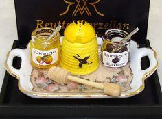 Dollhouse Reutter Porcelain Jam and Honey Dipper Set 1:12 Doll House Miniature #Reutter