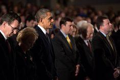 """President Barack Obama attends a Sandy Hook interfaith vigil at Newtown High School in Newtown, Conn., Sunday, Dec. 16, 2012."""