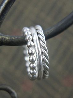 Stackable Sterling Silver Ring, Thin Simple Round Band, Twisted Ring, or Bead Band Gift for Him or Her, Size 4 to 15, Mens or Ladies Jewelry #SterlingSilverArt