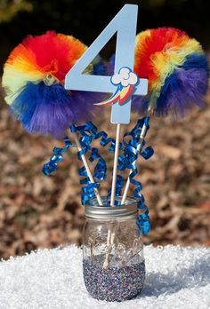 My Little Pony Party Rainbow Dash Birthday Party Centerpiece Table Decoration