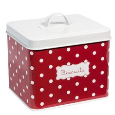 Boîte Biscuits rouge à pois