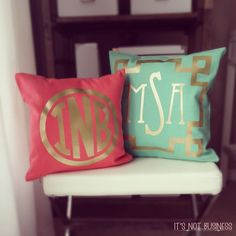 Monogram Throw Pillow Cover - Teal Coral Chinoise Frame Metallic Gold or Silver Monogram