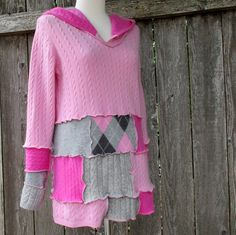 Ladies Pink Cashmere Hoodie - Cashmere Sweater - Recycled Cashmere Sweaters - Elf Hoodie - Pixie Sweater - Patchwork Sweater - Festival by ThankfulRose on Etsy