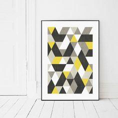 Geometric Print, Grey Yellow Art, Triangle Print, Printable Art, Geometric Proster, Affiche Geometrique, Affiche Jaune