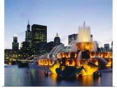 Poster Print Wall Art Print entitled Fountain in a city lit up at night, Buckingham Fountain, Chicago, Illinois, None