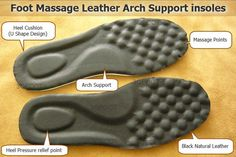 Comfort foot massage leather arch support shoe insoles