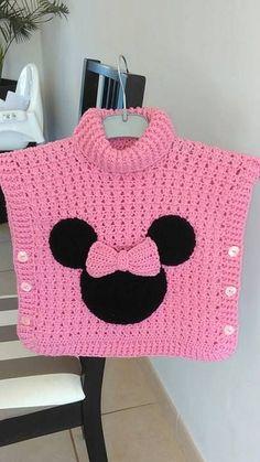 un joli poncho Minnie au crochet – La Grenouille Tricote - knitting for babies Crochet Baby Poncho, Crochet Poncho Patterns, Baby Girl Crochet, Crochet Baby Clothes, Cute Crochet, Baby Knitting Patterns, Crochet For Kids, Knit Crochet, Crochet Hats