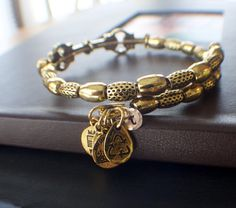 Personalized Alex and Ani style gold colored bangle with hammered gold filled charm with initial $29