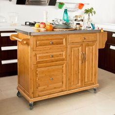SoBuy Carrello di servizio, Scaffale da cucina,Buttler,Mobili cucina,legno+ bambù(piano), FKW30-WN, IT: Amazon.it: Casa e cucina