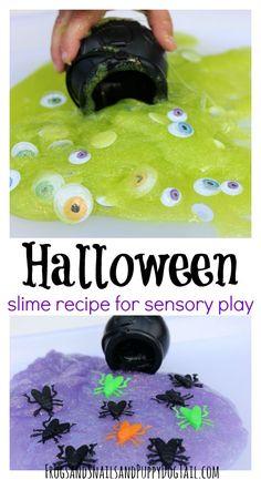 Halloween Slime Recipe. Sensory play activity idea for kids.