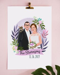 A perfect Valentines Day gift idea for him/her! Valentines Day Drawing, Valentines Day Couple, Couple Illustration, Digital Illustration, Wedding Illustration, Types Of Portrait, Personalized Couple Gifts, Graduation Portraits, Christmas Gifts For Boyfriend