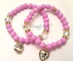 Beaded Bracelets Heart Charm Bracelet  Round by RandRsWristCandy