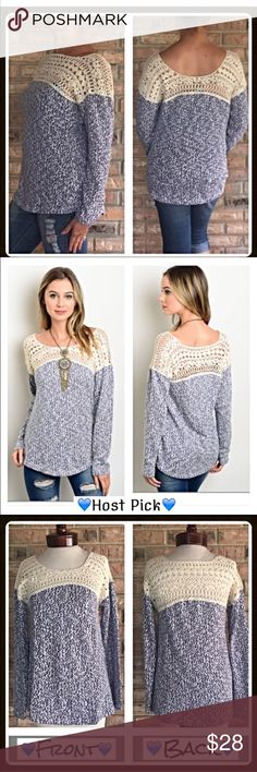 Beautiful Crochet Lace Sweater Top S M How cute is this little soft marled indigo blue & cream sweater - 100% cotton with crochet lace front and back panels. Slightly tapered flattering fit.  New from maker without tags  Small Bust 34 length 26  Medium Bust 36 length 27 Sweaters Crew & Scoop Necks