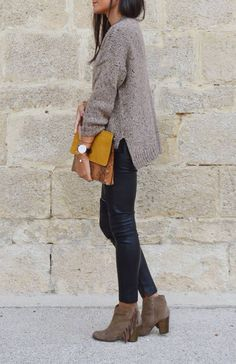 Outfit: suede fringe ankle booties with skinny jeans and a sweater.
