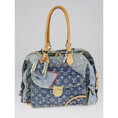 Pre-owned Louis Vuitton Limited Edition Blue Denim Monogram Denim... (4.285 RON) ❤ liked on Polyvore featuring bags, blue bag, pocket bag, preowned bags, print bags and summer bags