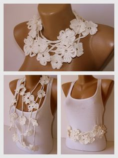 White Bamboo Flower Hand Crochet Lariat Scarf Bamboo by SNOflowers, $25.00