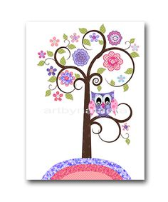 Owl Decor Owl Nursery Baby Girl Nursery Art by artbynataera