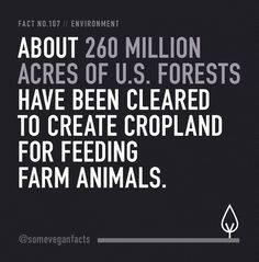 Fact 107. About 260 million acres of U.S. forests have been cleared to create cropland for feeding farm animals. Source // http://www.collective-evolution.com/2013/03/04/eating-meat-destruction-of-environment/