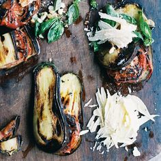 Grilled Eggplant and Tomatoes with Parmesan-Basil Crumbs | Fresh bread crumbs are an underrated way of adding fabulous crunch to recipes. Here Francis Mallmann uses bread crumbs tossed with fresh basil and lots of Parmigiano-Reggiano cheese to create a great topping for tender grilled vegetables.