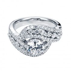 Contemporary Bypass Engagement Ring  #diamonds #wedding