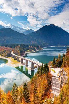 Autumn descended upon Lake Sylvenstein in Bavaria, Germany.
