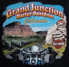 Grand Junction Colorado Harley Davidson T-shirt XL Biker Mountains Cougar Black
