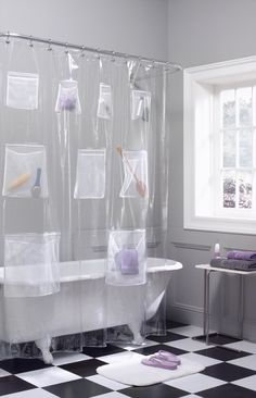 "If storage is SUPER tight, opt for a <a href=""https://www.bedbathandbeyond.com/store/product/vinyl-shower-curtain-with-mesh-pockets/1011988105?skuId=11988105&ioid=HH000032&mcid=PS_googlepla_nonbrand_bath_&adpos=1o1&creative=43742626429&device=c&matchtype=&network=g&product_id=11988105&gclid=CIOzuc7C4s8CFcIfhgodIeoOSQ"" target=""_blank"">shower curtain</a> with *pockets*."