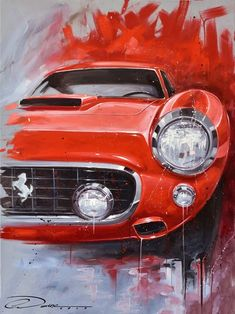 Classico Rosso Oil Painting on Canvas. Limited Edition Signed & Numbered Prints Available at www.PinstripeChri The post Classico Rosso Oil Painting on Canvas. Limited Edition Signed & Numbered Print appeared first on ferrari. Car Painting, Oil Painting On Canvas, Ferrari, Bmw Autos, Car Illustration, Car Posters, Automotive Art, Automotive Group, Car Sketch