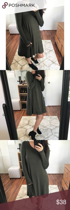 Hartley Basic LS Dress - DK Olive • PRICE DROPPED• If you love my Presley Soft Basic LS top, you will LOVE this dress.  Made up of the same fabric, soft feel and super comfy.  Perfect for work, not too short in length.  Features 2 side pockets (I love pockets ☺️).  Modeling size small.  Available in Navy, Dark Olive, & Black.  Price Firm▪️10% off 2+ items▪️ Dresses Long Sleeve