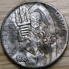 Hobo Nickel Dracular's Castle Carved Shaun Hughes by on DeviantArt Dracula Castle, Hobo Nickel, Coin Art, World Coins, Postage Stamps, Art Forms, Sculpture Art, Buffalo, Carving