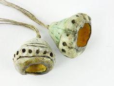 Artisan Ceramic Porcelain Beads pods focal by greybirdstudio, £30.00