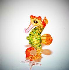 Animal Figurines | Items similar to Glass Animal Figurine: a handmade seahorse. A marine ...