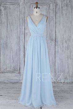 10171a6f05 Bridesmaid Dress Light Blue Chiffon Dress Wedding Dress With Sash Long  Double Straps Party Dress Ruched V Neck Backless Maxi Dress(H506A)