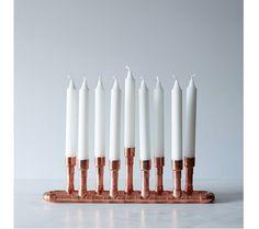 Industrial copper modern menorah