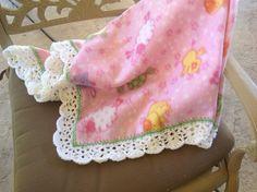 Pink Animal Fleece Nursery Blanket, Crocheted Blanket, Baby Blanket by Lorettescottage on Etsy